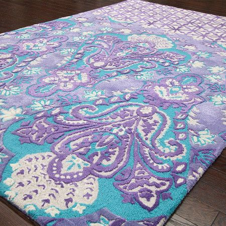 Ayla Rug | Turquoise & purple hand-tufted wool and art silk rug with a damask-inspired motif | Bohemian Inspirations on Joss & Main