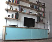 Reclaimed Scaffolding Board Storage Unit with Painted Glass Sliding Doors and Dark Steel Supported Shelving Above - Bespoke Furniture Design