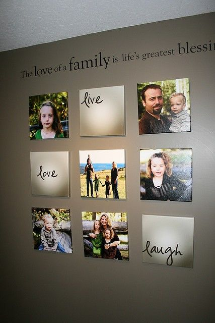 """have you seen the frame that has this three words in it """"live love laugh"""" ? this is a twist to it mixing them with family pictures, a really cute combination to decorate the wall of the family room or the living room"""