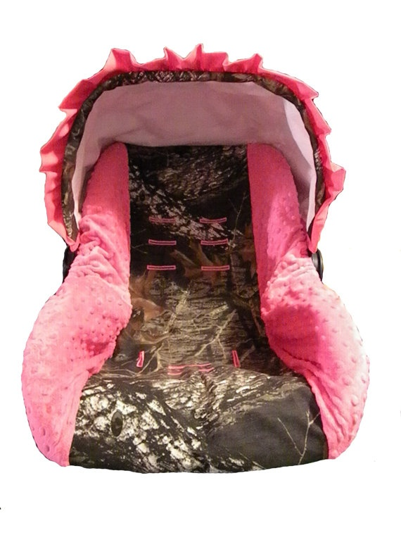 Custom Hunting Camo And Pink Infant Car Seat Cover Pink