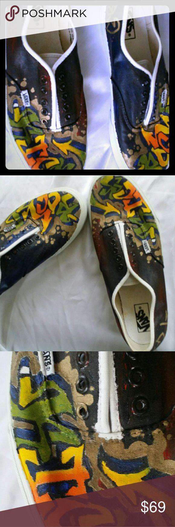 ON SALE TODAY. CUSTOM HANDPAINTED VANS Look new. Need shoe strings. CUSTOM on the go vans  for men. Vans Shoes Sneakers