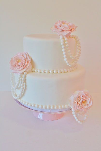 Fun Bridal Shower Cake with Pearls and Cabbage Roses