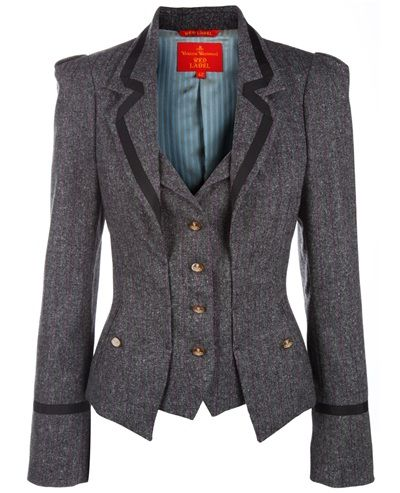 Grey wool blend blazer from Vivienne Westwood Red Label featuring a fine pink pinstripe throughout, notched lapels with black gros grain trim, pleated exaggerated shoulders, black gros grain trim at cuffs, two slit pockets to the sides with orb embossed button fastenings and a waistcoat detail at front with tan orb embossed buttons fastening