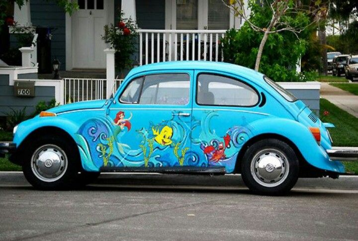 Little Mermaid vintage VW Beetle! How cute! I wonder if I can have this for my birthday! Please ...