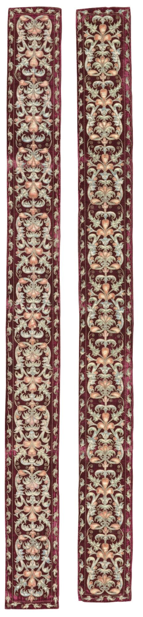 A pair of cerise velvet, metal-thread and painted silk appliqué strips, probably Italian or Spanish, 18th century | lot | Sotheby's
