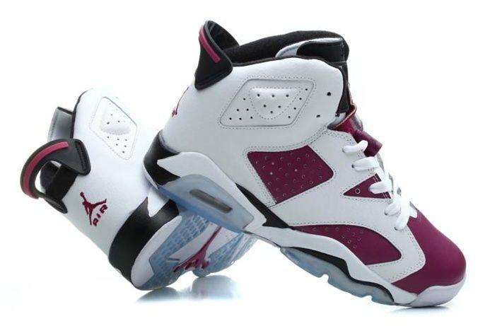 Nike Air Jordan 6 Retro Vrouwen Schoenen Paars Wit Aan Uitverkoop