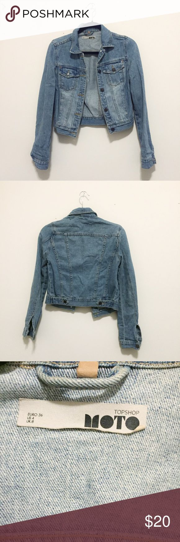 Topshop Denim Jacket Love this but it hasn't been getting enough love in my closet so I'm looking for a new home! Topshop runs small so I would say it would fit a size 2. Great condition! Topshop Jackets & Coats Jean Jackets