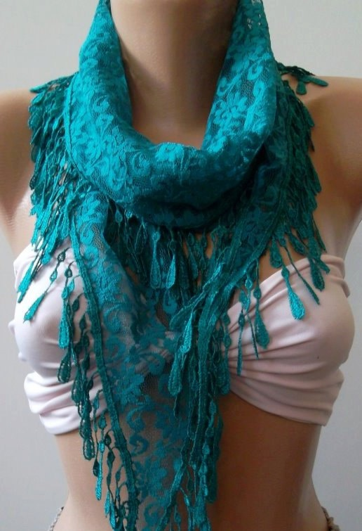 Turquoise / Elegance  Shawl / Scarf with Lacy Edge by womann