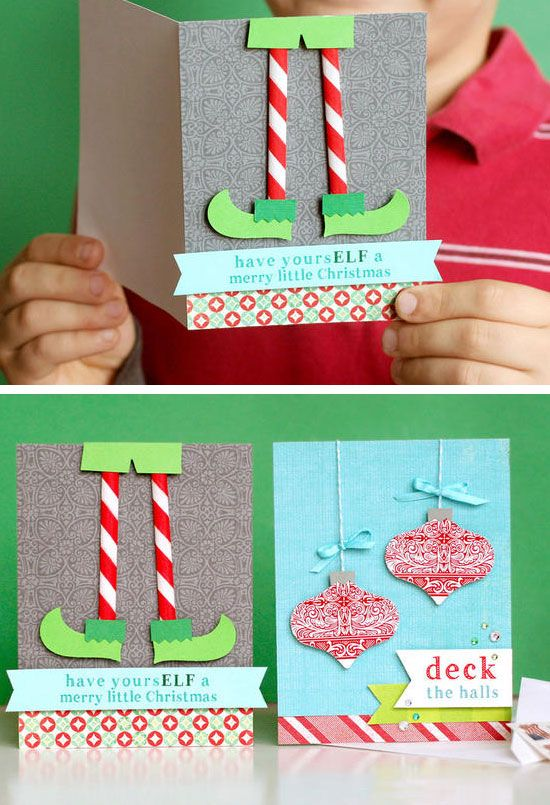 Funny 3D Elf Cards | Click for 20 DIY Christmas Card Ideas for Families | DIY Christmas Cards for Kids to Make