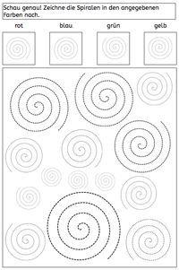 Spiralen nachfahren und unterscheiden - abcund123