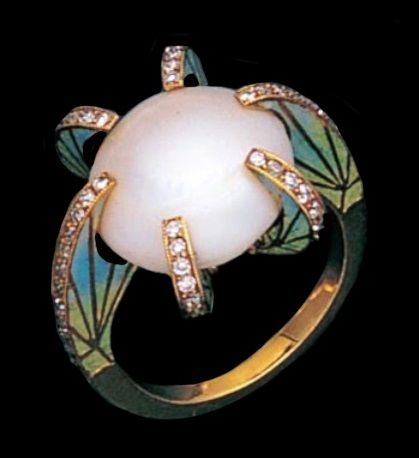 Art Nouveau pearl, enamel and diamond ring.