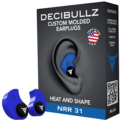 Decibullz - Custom Molded Earplugs, 31dB Highest NRR, Comfortable Hearing Protection for Shooting, Travel, Swimming, Work and Concerts (Blue) - Decibullz Custom Molded Earplugs are easily and quickly fitted to the exact shape of your ear. This creates a perfect fitting earplug that will never hurt, never fall out and provide superior noise isolation. Simply heat the Decibullz thermoplastic molds in boiling water, let them cool for a bit,...