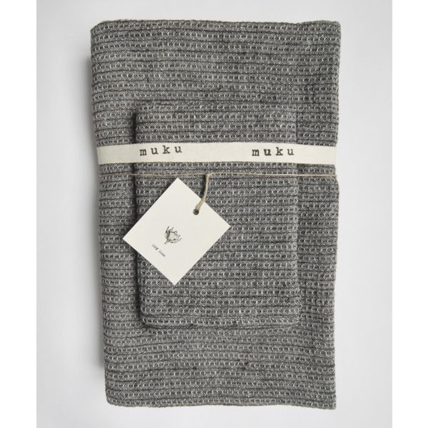 Grey Waffle Body and Face Towel Set - Muku