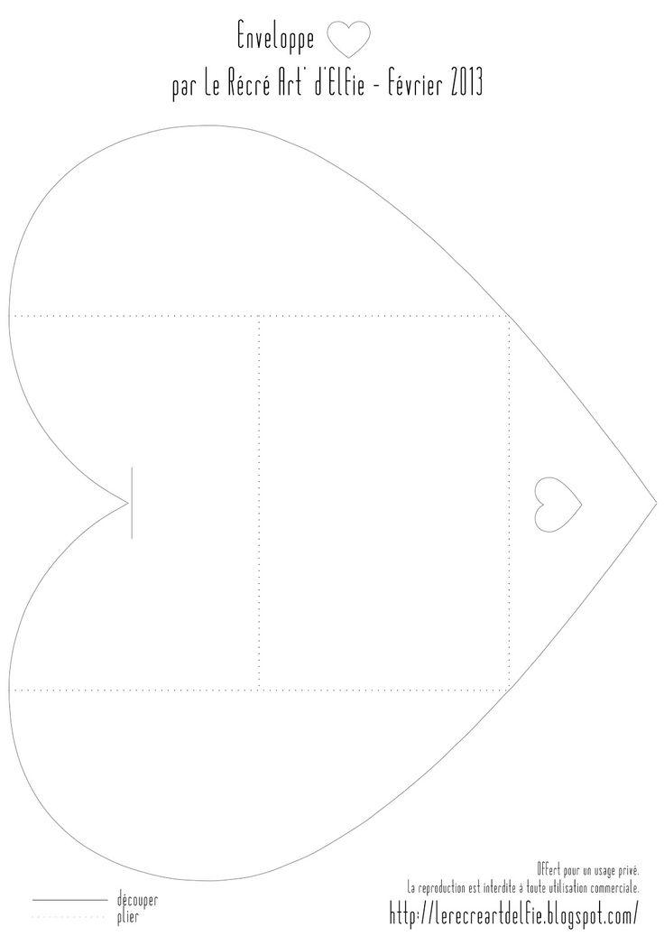 Freebies : téléchargement gratuit modèle coeur pour enveloppe by Le RécréArt' d'Elfie