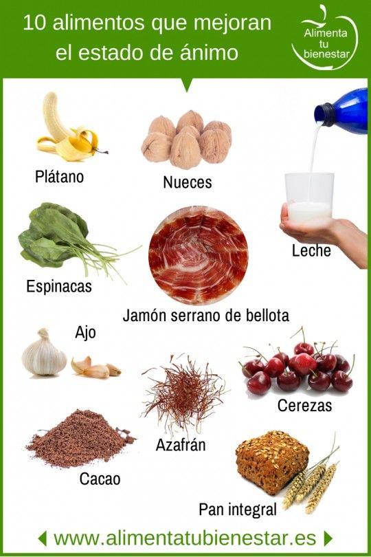 10 alimentos que mejoran el estado de ánimo #salud #bienestar #depresion #alimentatubienestar