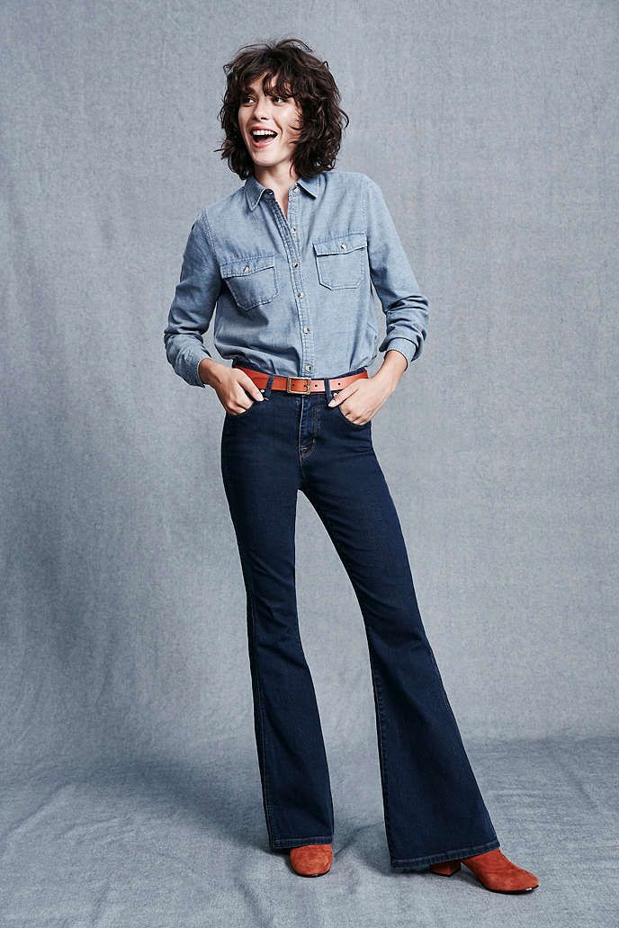 BDG Morrison High-Rise Flare Jean - Worn Blue - Urban Outfitters