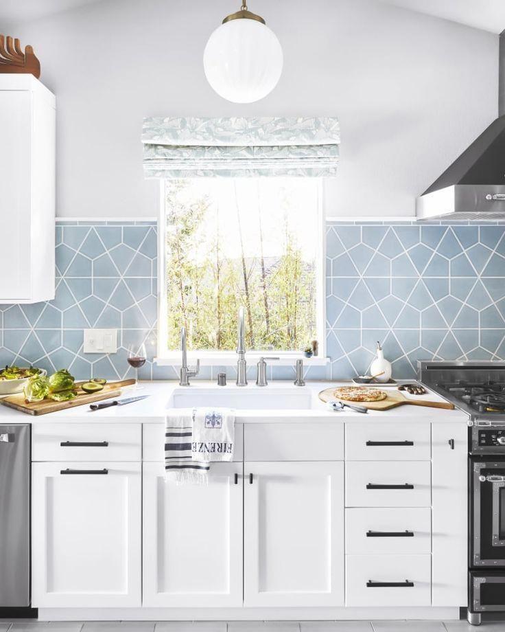 Kitchen Backsplash Ideas Light Blue Tile Backsplash Kitchenbacksplash Kitchen Design Small Kitchen Renovation Light Blue Kitchens