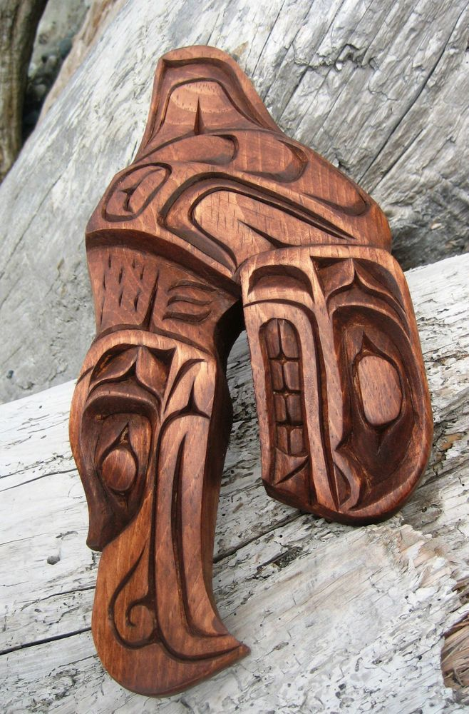 Northwest coast first nations native art carved eaglewhale