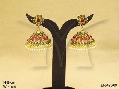 Oval Jhumki Kemp Stone Earrings