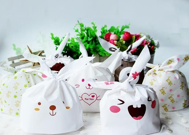 10pcs rabbit ear cookie bags plastic candy Biscuit Packaging Bag Wedding Candy Gift Bags party decorations