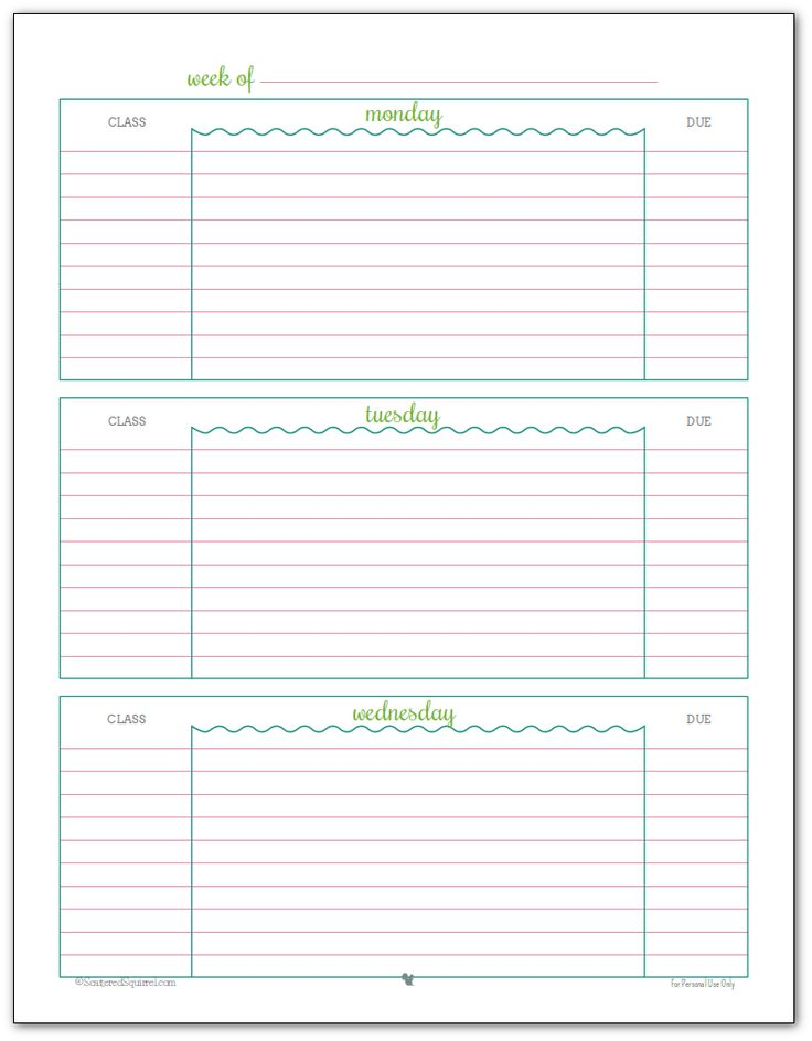 Weekly student planner printable - Page 1 Blue, Green and Pink colour scheme                                                                                                                                                      More