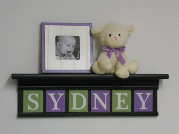 Lavender Nursery Decor Baby Wall Art 24 Black Shelf With 6 Wooden Block Letters Lilac Green And For Sydney
