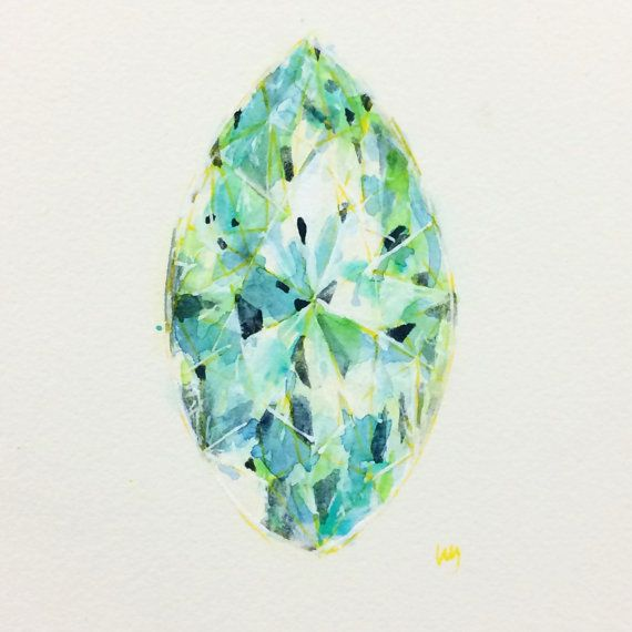 "Green, Diamond, Original Art, Marquise Cut Diamond, Diamond Painting, Ink, Watercolor, Acrylic, Paper, Small Wall Art, 6""x6"", 15cm x 15cm"