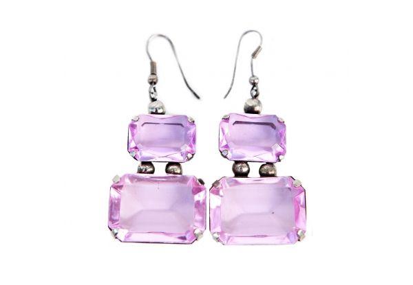 Purple Diamond-Cut Earrings Pretty dangle earrings with purple glass stones. http://www.charlieford.com
