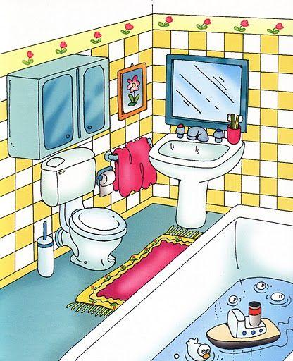 VOCABULARIO Láminas temáticas de expresión oral: El baño http://www.imagenesydibujosparaimprimir.com/2011/07/imagenes-habitaciones-casa-para.html