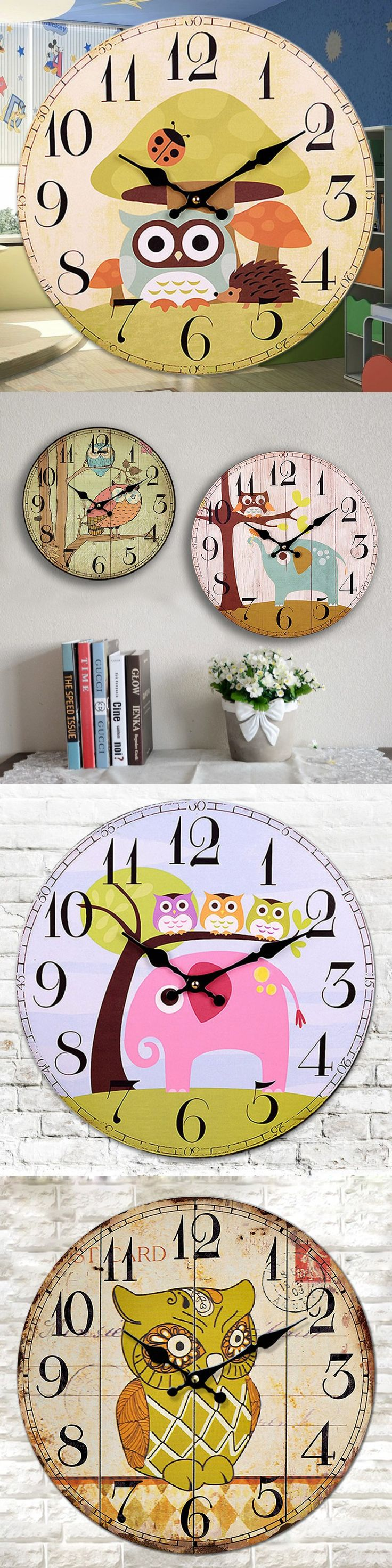 Cute Owl Mute Watch Vintage Wall Clock Relogio De Parede Kids Wall Clocks French Country Home Decor 12 Inches $33.99