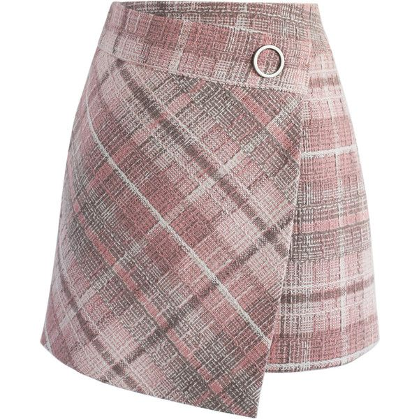 Chicwish Tender  Tartan Tweed Flap Skirt in Pink (305 HRK) ❤ liked on Polyvore featuring skirts, mini skirts, pink, tartan miniskirts, short mini skirts, pink mini skirt, plaid mini skirt and red plaid skirts