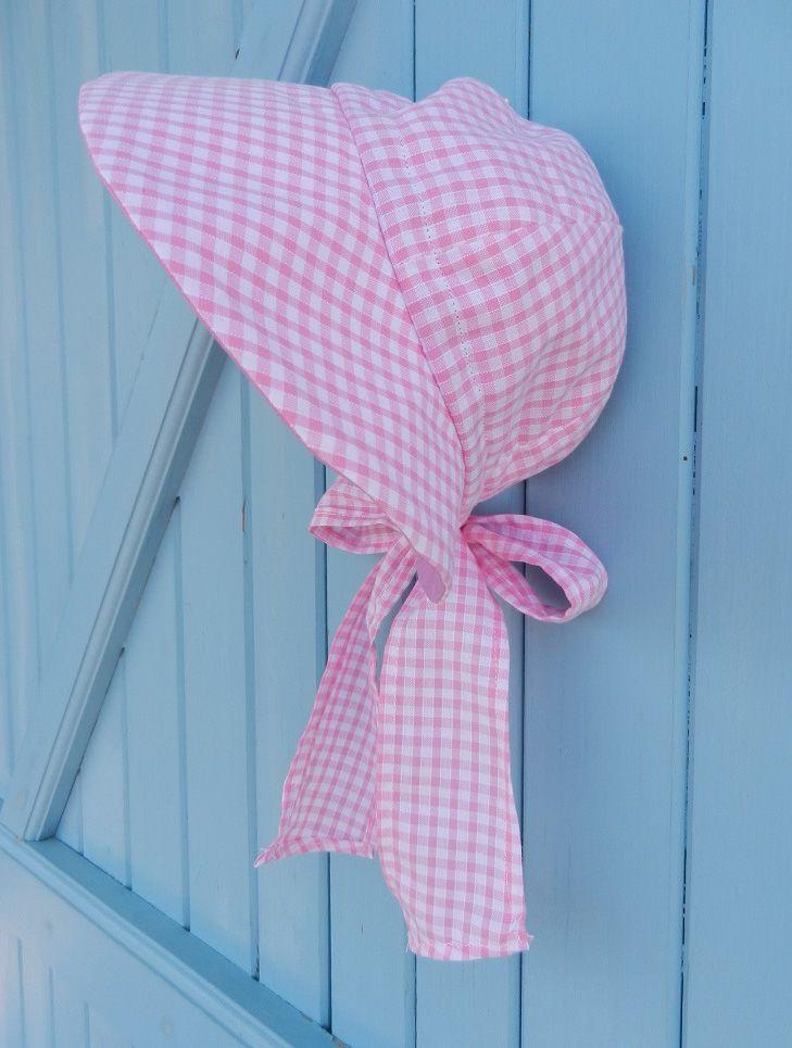 Chapeau casquette en coton vichy rose et blanc et nœud à l'arrière - tour de tête entre 47 et 50 cm Duchesse Or Ange