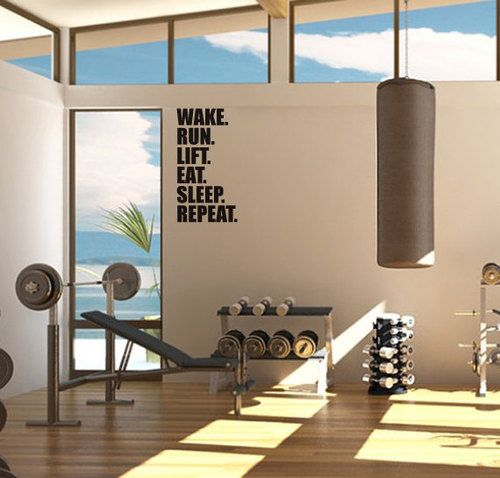 wake. run. lift. eat. sleep. repeat Sports & Outdoors - Sports & Fitness - home gym - http://amzn.to/2jsMKm8