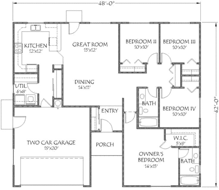 Traditional Style House Plan 4 Beds 2 Baths 1500 Sq Ft