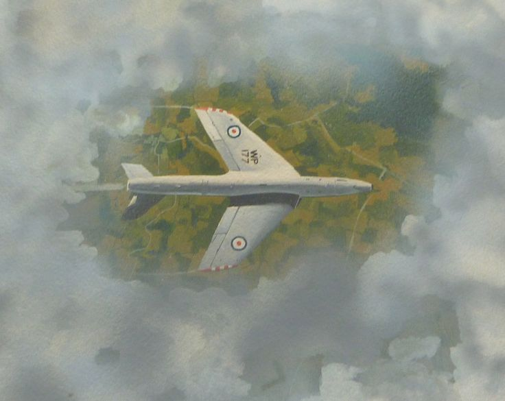 'Hunter' Gouache on paper 26 x 23 cms. The aircraft glints in the sun as it breaks through a hole in the cloud.