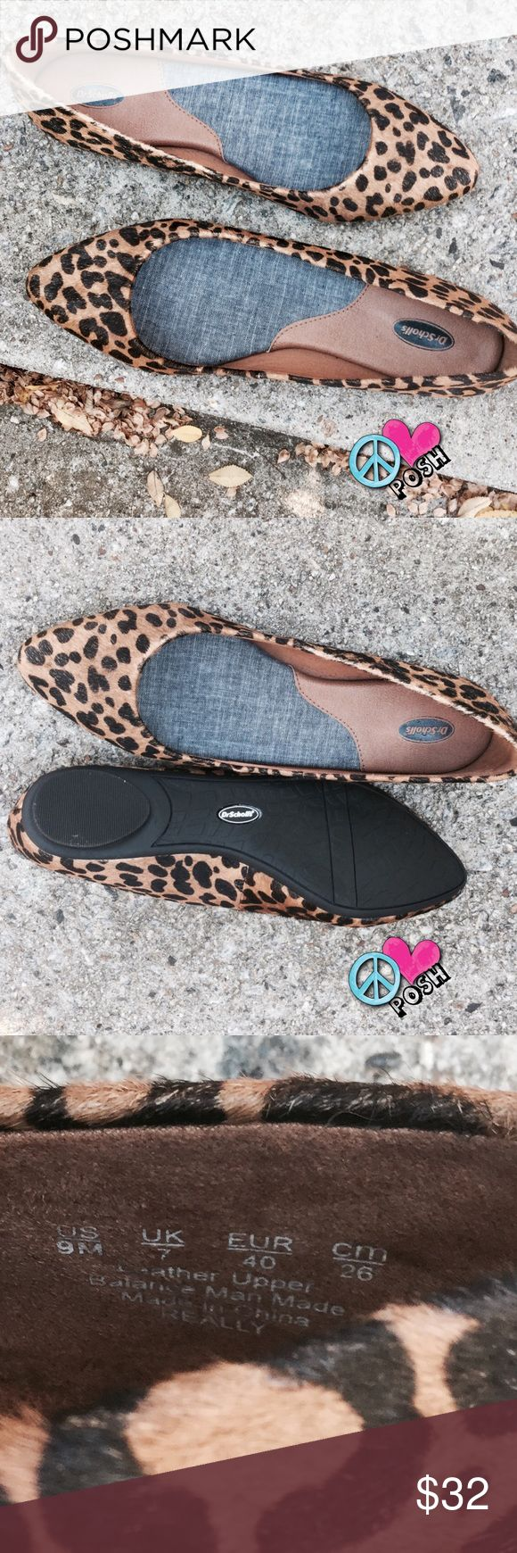 Dr. Scholl's LEATHER Cheetah Flats Dr. Scholl's Cheetah Flats FITS SIZE 8 BEST Extremely Comfy, 100% Leather Uppers & in A-1 Condition They're PERFECT ❌❌ NO TRADE ❌❌ Dr. Scholl's Shoes Flats & Loafers