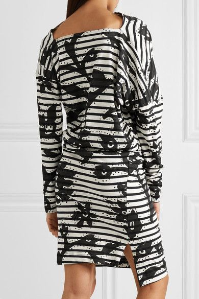 Vivienne Westwood Anglomania - Draped Printed Cotton-jersey Dress - Black - XS