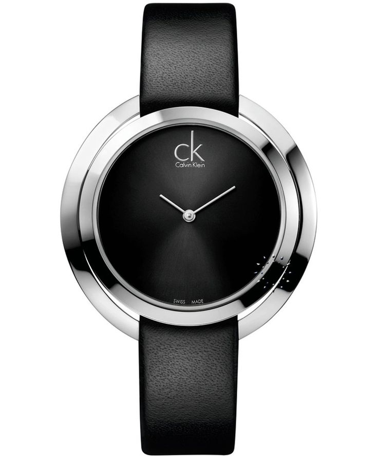 CALVIN KLEIN Aggregate Black Leather Strap Τιμή: 246€ http://www.oroloi.gr/product_info.php?products_id=36855