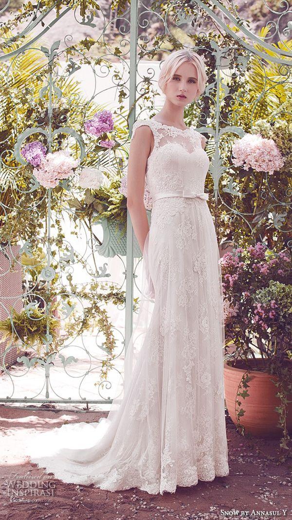 snow by annasul y 2016 bridal gowns sleeveless illusion bateau sweetheart neckline fully embellished elegant romantic beautiful lace sheath wedding dress sweep train (sa2743b) mv