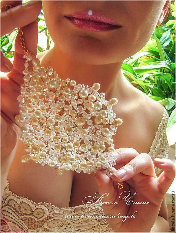 """Купить Браслет невесты """"Жемчужный лебедь"""" - морозные узоры, эльфийские украшения, романтический браслет"""