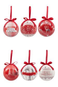 Set Of 6 Alpine Style Decoupage Baubles