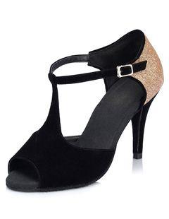 Magnétiques chaussures danse latine Paillette noir à talons aigus T-bracelet bicolore peep-toe