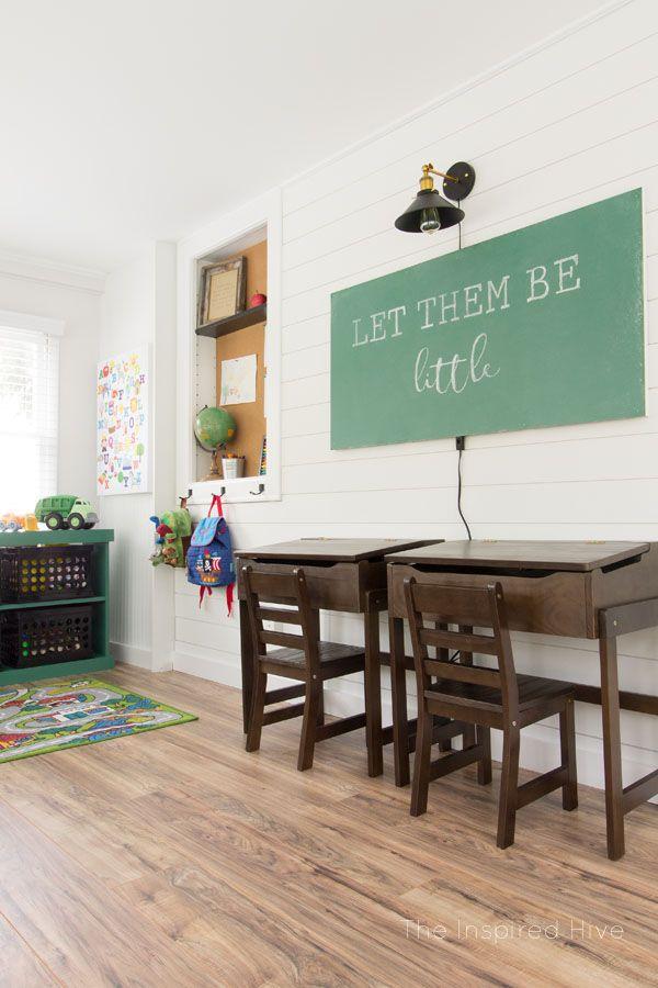 Vintage modern schoolhouse themed playroom. Perfect kid's space for a modern farmhouse style home. #kidsroom #modernfarmhouse