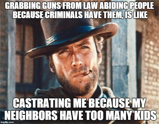 Clint Eastwood | GRABBING GUNS FROM LAW ABIDING PEOPLE BECAUSE CRIMINALS HAVE THEM, IS LIKE CASTRATING ME BECAUSE MY NEIGHBORS HAVE TOO MANY KIDS | image tagged in clint eastwood | made w/ Imgflip meme maker