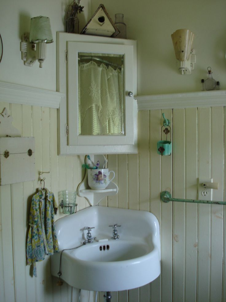 Farmhouse bathroom need a corner medicine cabinet for a for Tiny bathroom sink