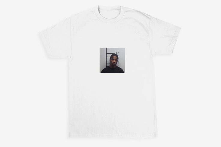 "Travis Scott Mugshot Tee; Free The Rage"" text on the back. Shop for $45 on the official Travis Scott merchandise website, limited edition."