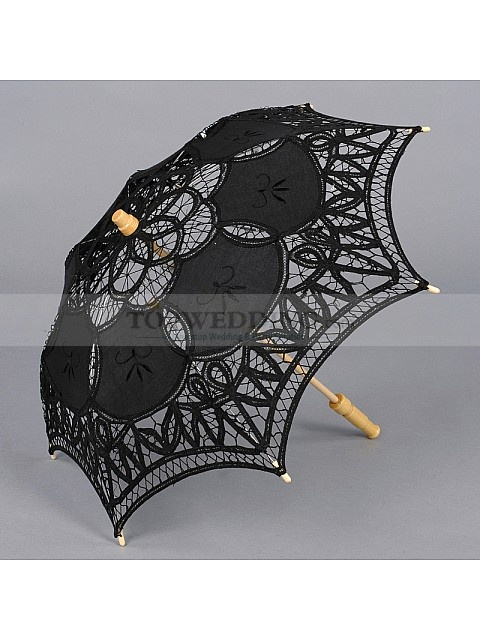 COTTON LACE WEDDING PARASOL FOR FLOWER GIRL BLACK COLOR SUN ONLY