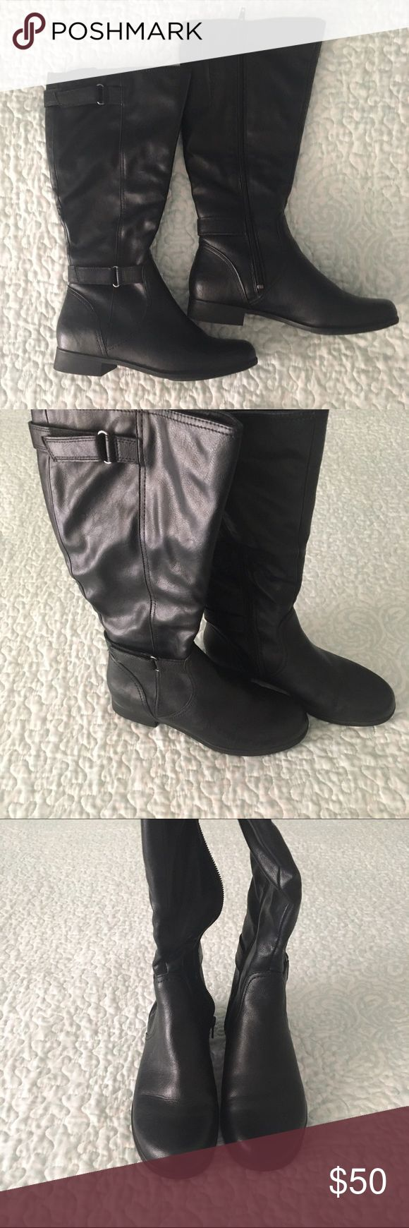Hush Puppies boots Brand new! Still have original 📦. Purchased from Macy's in 2013. Comfortable, buckle detail, classic. Hits below the knee. Offers welcome! Price negotiable. Perfect for autumn 🍂 and winter ❄️. Mid-calf, 14 inch circumference. Hush Puppies Shoes Winter & Rain Boots