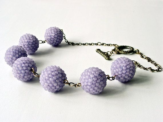 Lavender Balls Beaded Necklace  Violet Necklace  by elokka on Etsy, $16.00