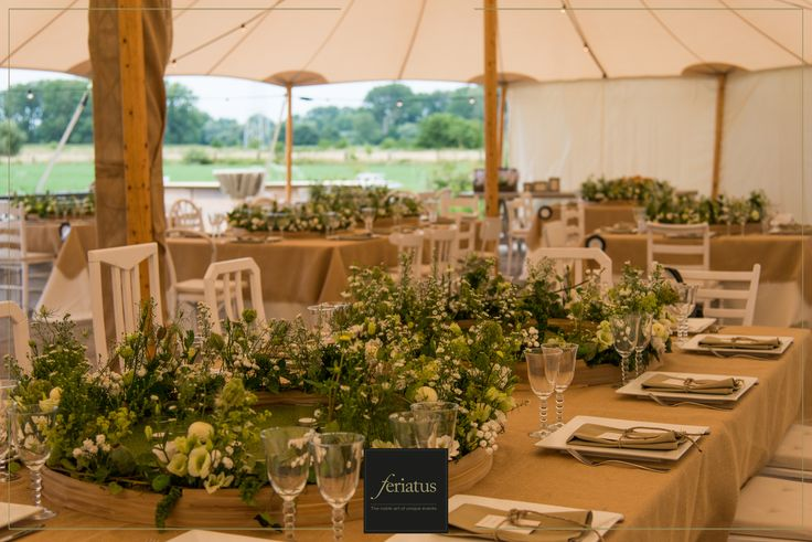 FERIATUS - Wedding - T&K - Romantic - Country - Brown - Wood - Rustic - Tent - Table Setting - Flowers